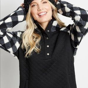 🎄🎁SIZE XS- PLAID QUILTED SHERPA PULLOVER